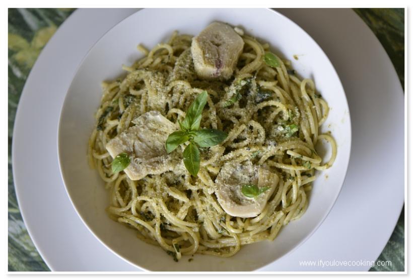 Spaghetti cu pesto 2