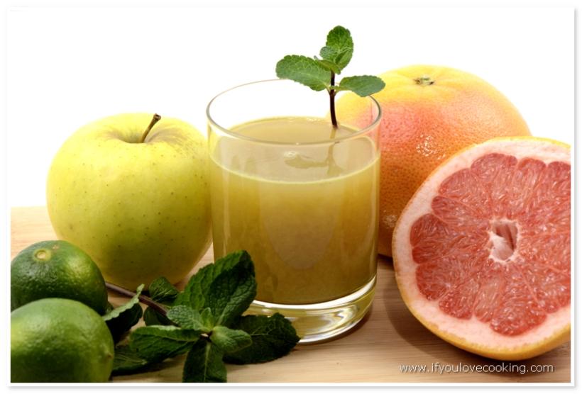 Grapefruits, mere, menta & lime